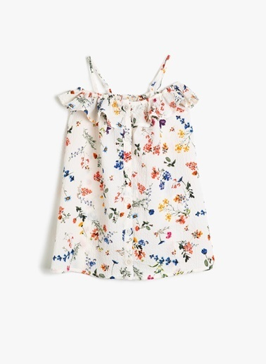 Koton Koton Çiçek Desenli Dökümlü Fırfırlı Elbise Ekru